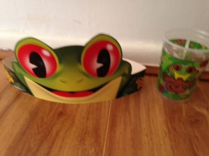 Souvenirs from the Rainforest Cafe meal. I wore the hat all around Downtown Disney!